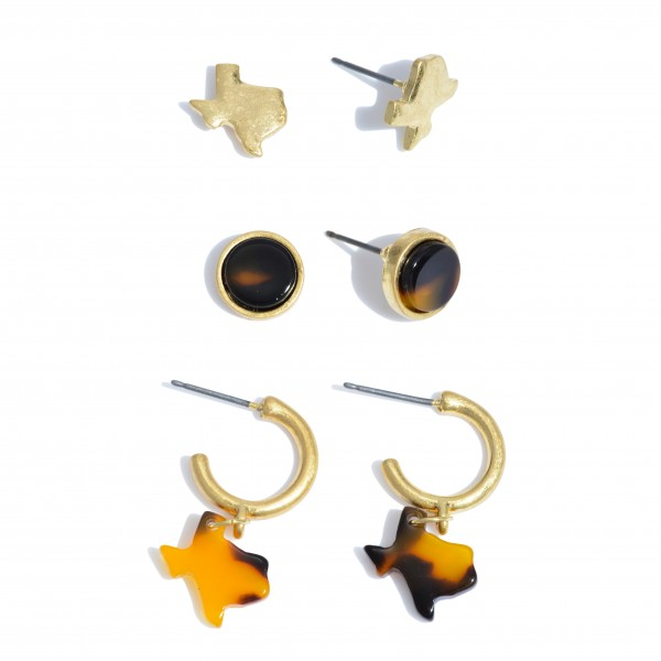 "3 PC Acrylic Texas State Stud Hoop Earring Set.   - 3 Pair Per Set - Approximately 1cm - .75"" in Size"