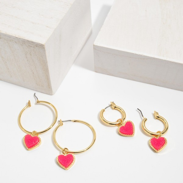 "Druzy Heart Hoop Earrings in Gold.  - Druzy Heart 9mm - 1.5"" in Hoop Diameter - Approximately 2"" in Length"