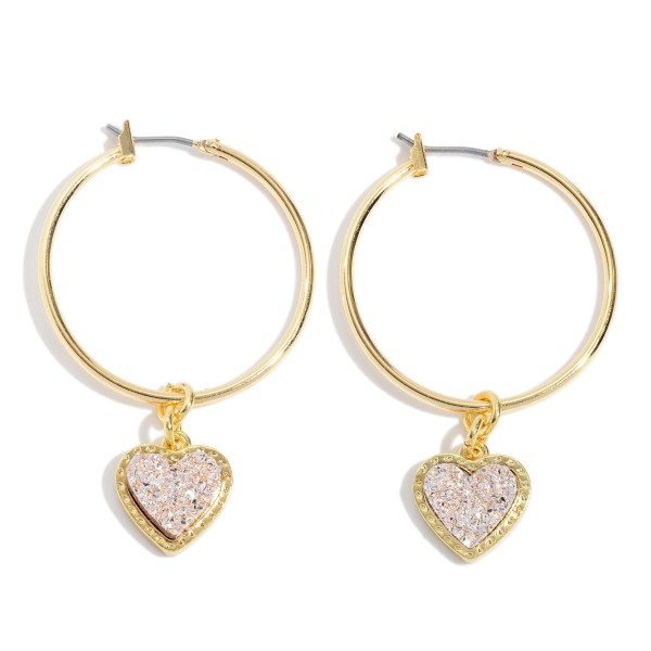 "Druzy Heart Hoop Earrings in Gold.  - Druzy Heart 9mm - 1.5"" in Hoop Diameter - Approximately 2"" in Length"