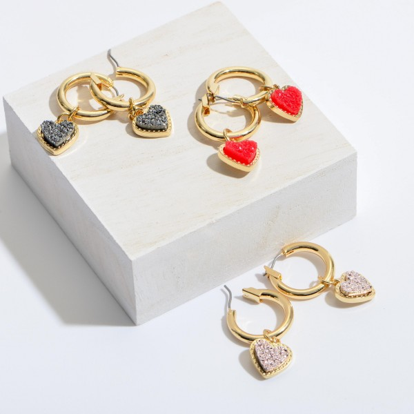 "Druzy Heart Hoop Earrings in Gold.  - Approximately 1.5"" in Length - .75"" in Hoop Diameter"