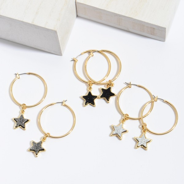 "Druzy Star Hoop Earrings in Gold.  - Druzy Star 10mm - 1.5"" Hoop Diameter  - Approximately 2"" in Length"