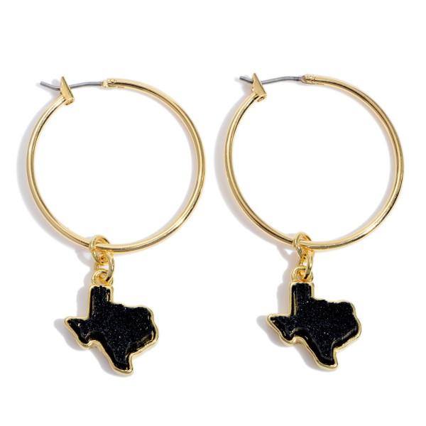 """Druzy Texas State Hoop Earrings in Gold.  - Texas State .5""""  - 1.5"""" Hoop Diameter - Approximately 2"""" in Length"""