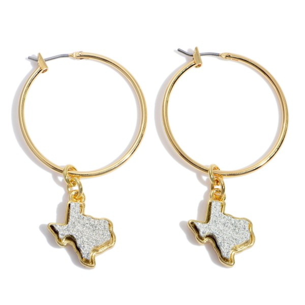 "Druzy Texas State Hoop Earrings in Gold.  - Texas State .5""  - 1.5"" Hoop Diameter - Approximately 2"" in Length"