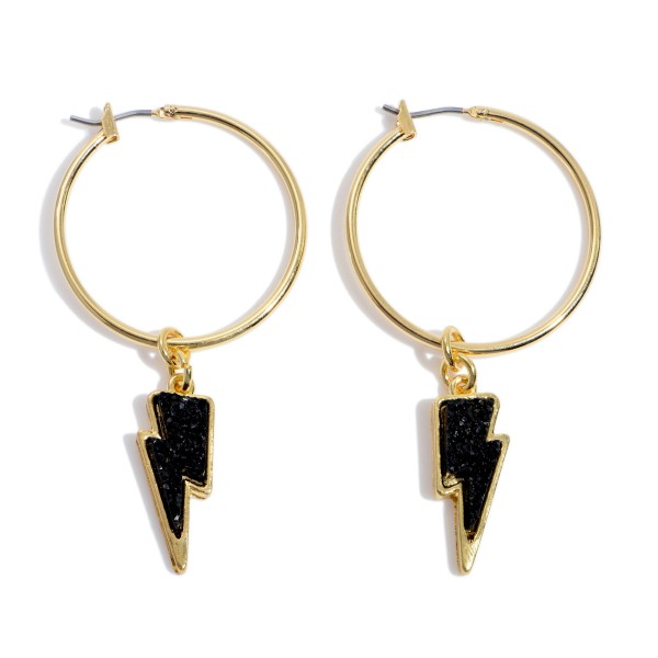 """Druzy Lighting Bolt Hoop Earrings in Gold.  - Lightning Bolt .75""""  - 1.5"""" Hoop Diameter - Approximately 2.5"""" in Length"""