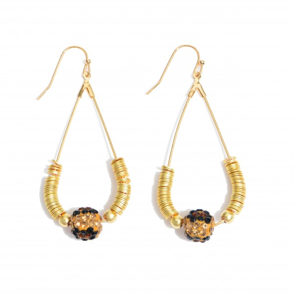 """Gold Spacer Beaded Teardrop Earrings Featuring a Leopard Print Bead Detail.  - Approximately 2.5"""" in Length"""
