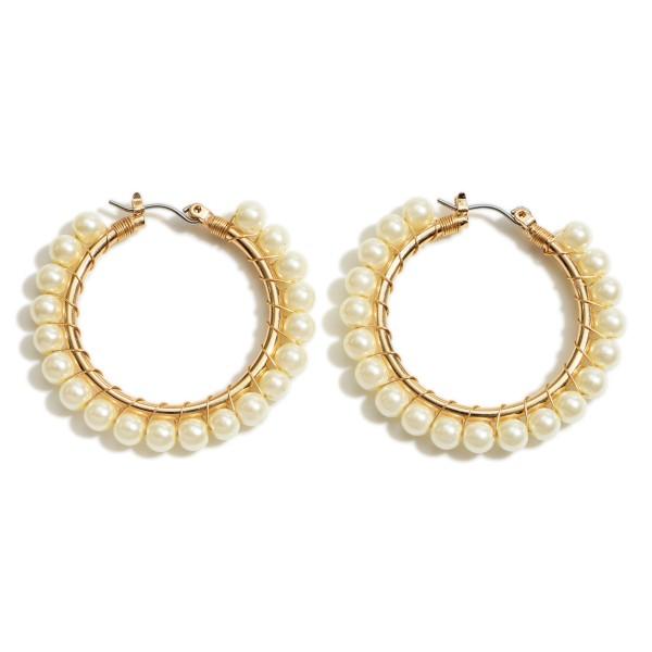 """Faux Pearl Hoop Earrings.   - Approximately 1.5"""" in Diameter"""