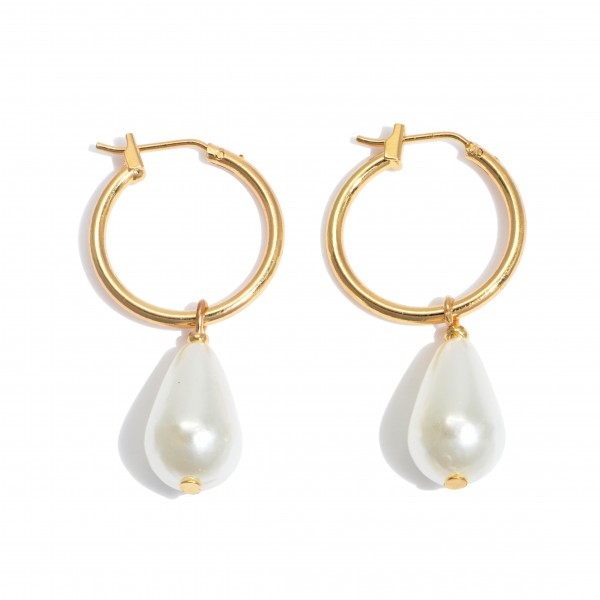"""Teardrop Pearl Hoop Earrings in Gold.  - Approximately 1.25"""" in Length - Hoop Diameter .75"""""""