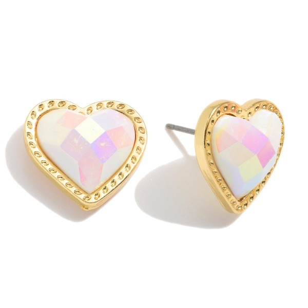 "Faceted Heart Stud Earrings in Gold.  - Approximately .5"" in Size"