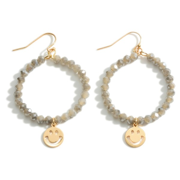 """Circular Beaded Drop Earrings Featuring Smiley Face Pendant Accent.   - Approximately 1.5"""" Long"""