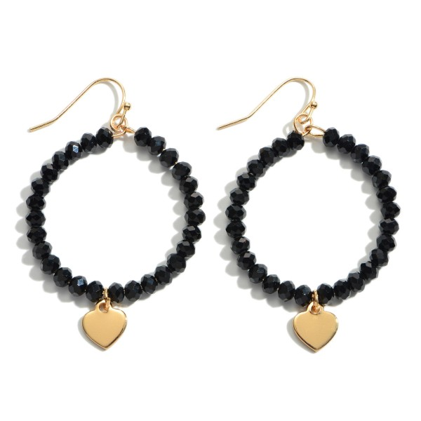 "Beaded Drop Earrings Featuring a Heart Accent in Gold.  - Approximately 1.5"" in Diameter - Approximately 2"" in Length"