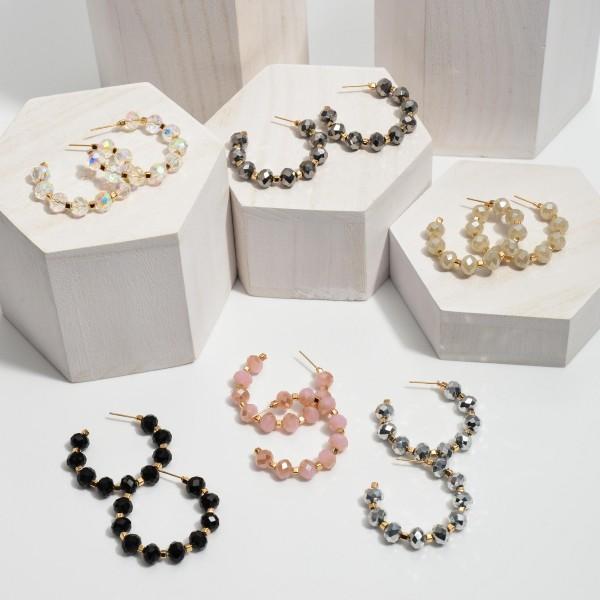 """Beaded Hoop Earrings in Gold.  - Bead Size: 7mm  - Approximately 1.5"""" in Hoop Diameter"""
