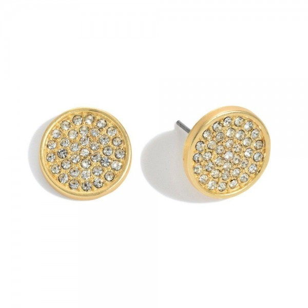 """Pave Button Stud Earrings.  - Approximately .5"""" in Diameter"""
