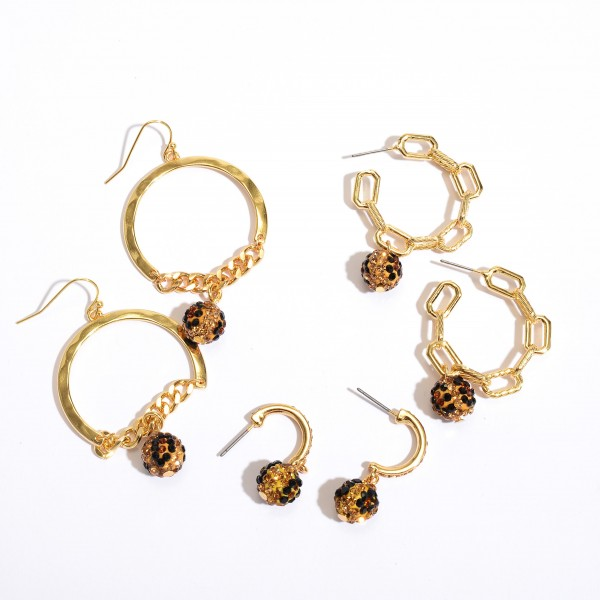 """Short Rhinestone Leopard Print Bead Hoop Earrings in Gold.  - Bead 9mm  - Approximately 1"""" in Length - .75"""" in Hoop Diameter"""