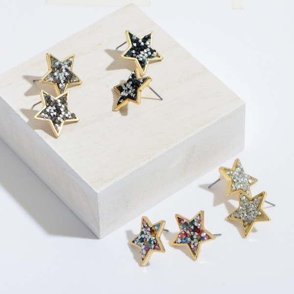 "Rhinestone Filled Star Stud Earrings.  - Approximately .75"" in Size"