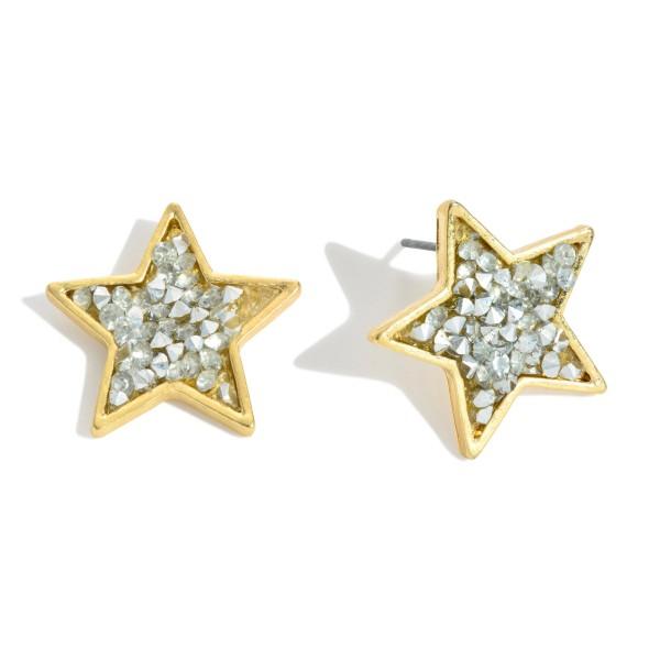 "Rhinestone Filled Star Stud Earrings.  - Approximately .75"" in Size"