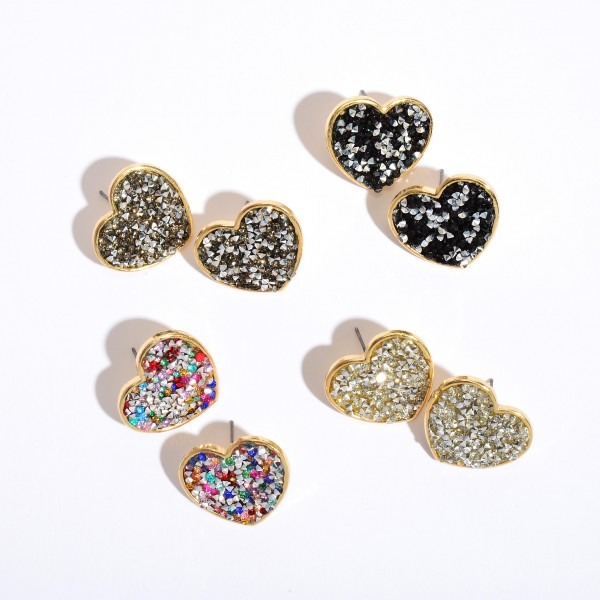 "Rhinestone Glitter Heart Stud Earrings in Gold.  - Approximately 1"" in Size"