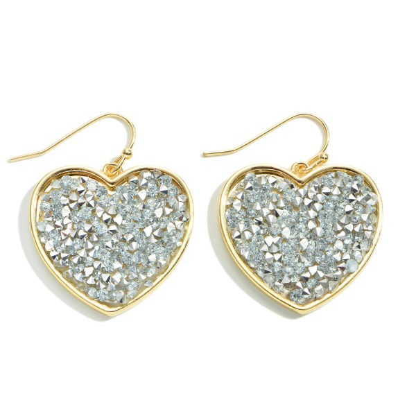 "Rhinestone Filled Heart Drop Earrings.  - Approximately 1"" in Length"