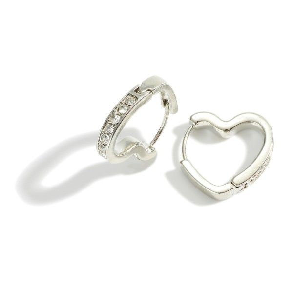 "Heart-Shaped Hoop Earrings Featuring Rhinestone Accents.   - Approximately 1"" in Length"