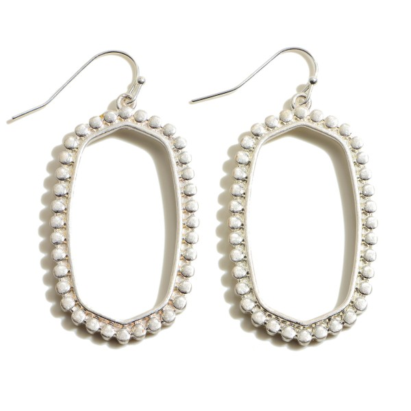 """Metal Dotted Oblong Drop Earrings.  - Approximately 1.75"""" in Length"""