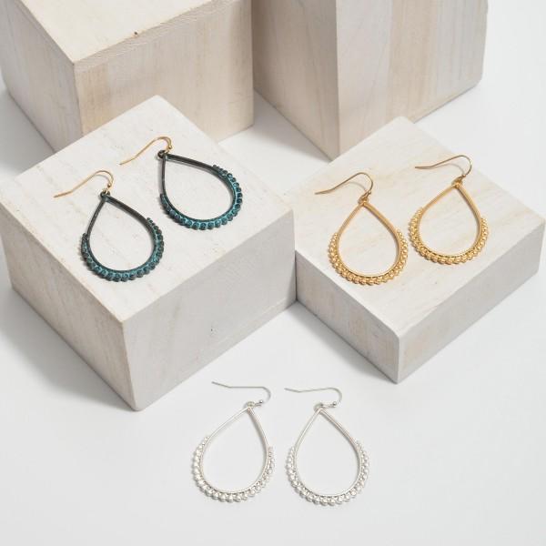 "Metal Dotted Teardrop Earrings.  - Approximately 2"" in Length"