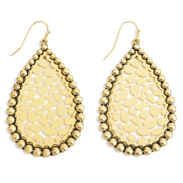 """Metal Animal Print Filigree Teardrop Earrings in an Antique Gold Finish.  - Approximately 2"""" in Length"""
