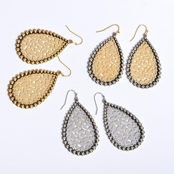 "Two Tone Metal Animal Print Filigree Teardrop Earrings in an Antique Finish.  - Approximately 2"" in Length"