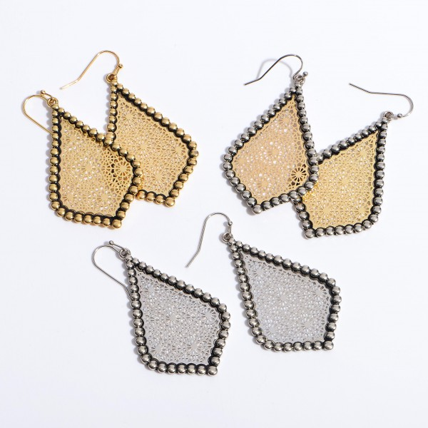 "Metal Filigree Moroccan Teardrop Earrings in an Antique Gold Finish.  - Approximately 2"" in Length"