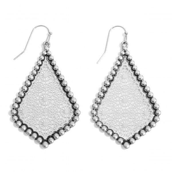 "Metal Filigree Moroccan Teardrop Earrings in an Antique Rhodium Finish.  - Approximately 2"" in Length"