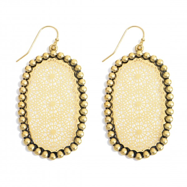 """Metal Filigree Oblong Drop Earrings in an Antique Gold Finish.  - Approximately 2"""" in Length"""