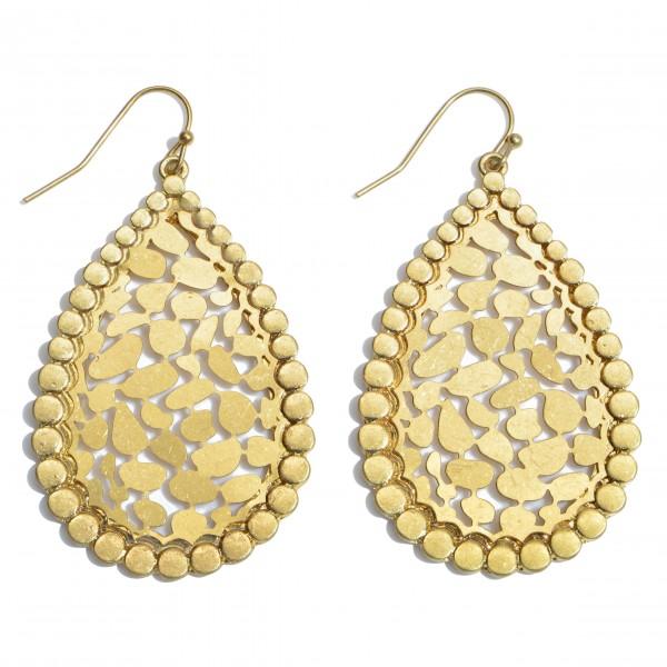 "Metal Animal Print Filigree Teardrop Earrings in a Worn Gold Finish.  - Approximately 2"" in Length"