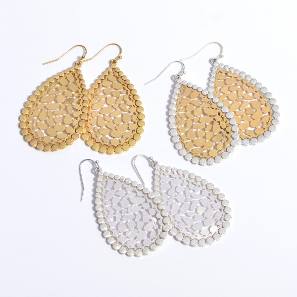 "Two Tone Metal Animal Print Filigree Teardrop Earrings in a Worn Finish.  - Approximately 2"" in Length"