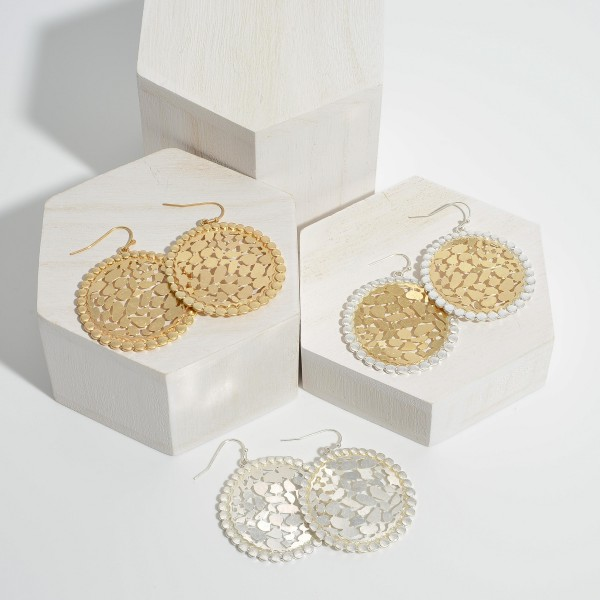 "Two Tone Round Metal Animal Print Filigree Drop Earrings in a Worn Finish.  - Approximately 1.5"" in Diameter"