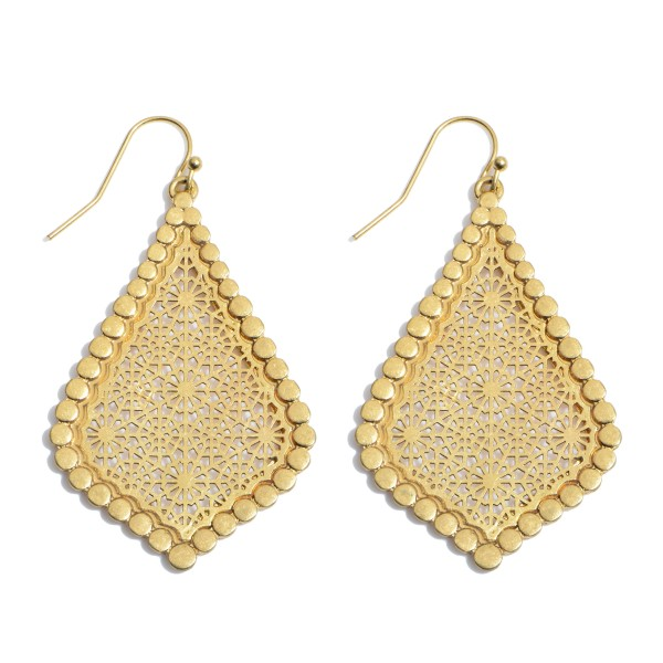 "Metal Filigree Moroccan Teardrop Earrings in a Worn Gold Finish.  - Approximately 2"" in Length"