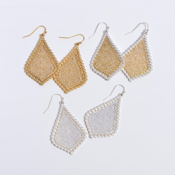 "Two Tone Metal Filigree Moroccan Teardrop Earrings in a Worn Finish.  - Approximately 2"" in Length"