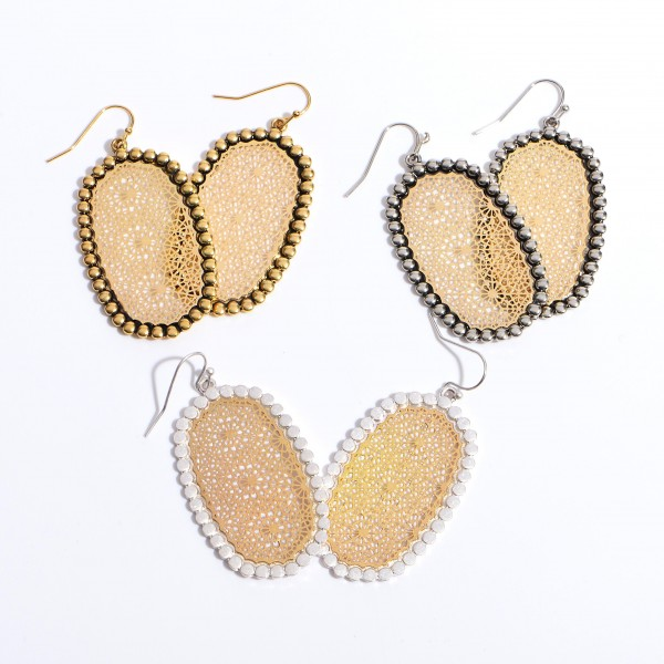 "Two Tone Metal Filigree Drop Earrings.  - Approximately 2"" in Length"