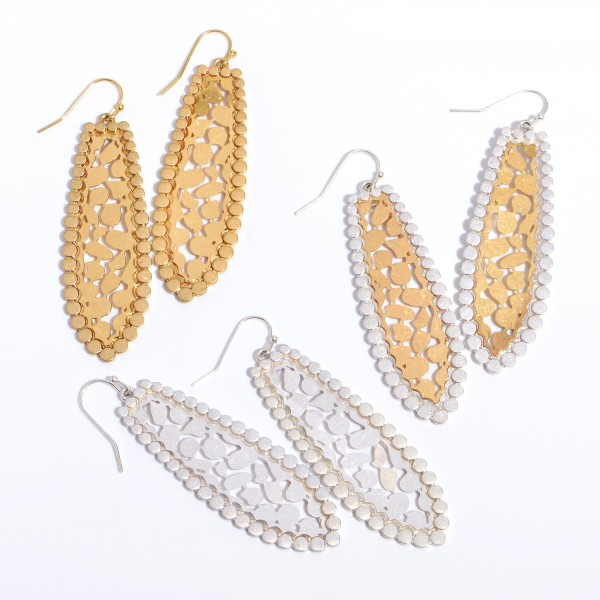 "Long Metal Animal Print Filigree Drop Earrings in a Worn Finish.  - Approximately 2.5"" in Length"
