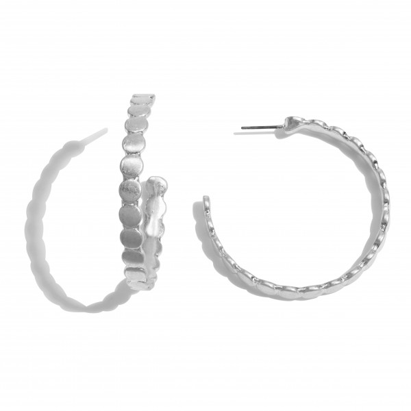 "Metal Dotted Hoop Earrings.  - Approximately 2"" in Diameter"