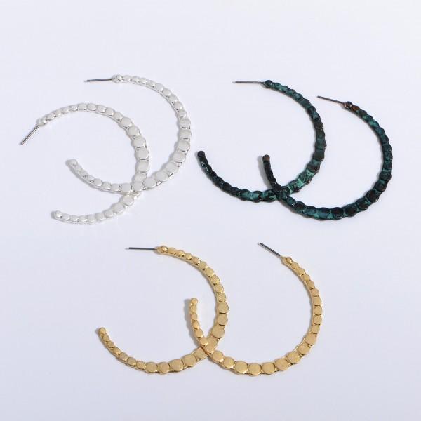 """Flat Metal Dot Hoop Earrings in a Worn Finish.  - Approximately 2"""" in Diameter"""