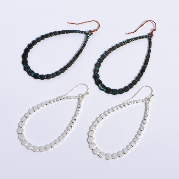 "Metal Dotted Teardrop Earrings in a Worn Finish.  - Approximately 2.5"" in Length"
