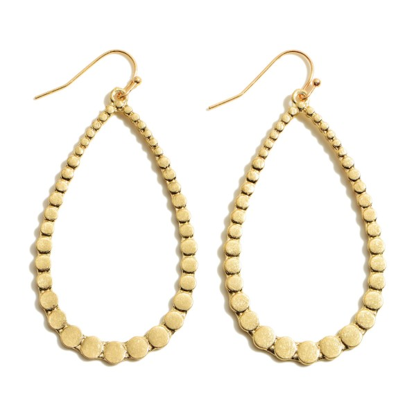 "Metal Dotted Teardrop Earrings in a Worn Finish.  - Approximately 2.5"" in Length"