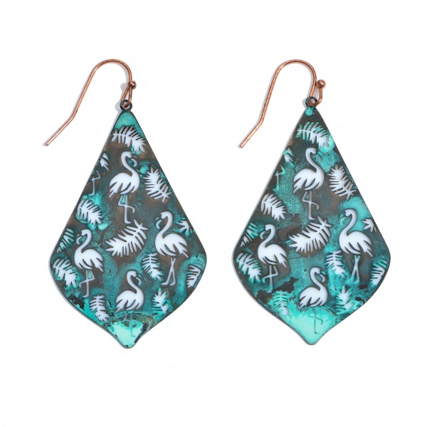 "Tropical Flamingo Metal Filigree Moroccan Teardrop Earrings.  - Approximately 2"" in Length"