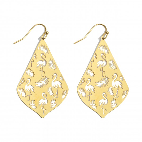 """Tropical Flamingo Metal Filigree Moroccan Teardrop Earrings in a Worn Finish.  - Approximately 2"""" in Length"""