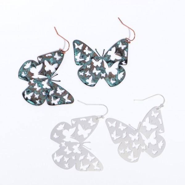 """Metal Butterfly Filigree Drop Earrings.  - Approximately 2"""" in Length"""