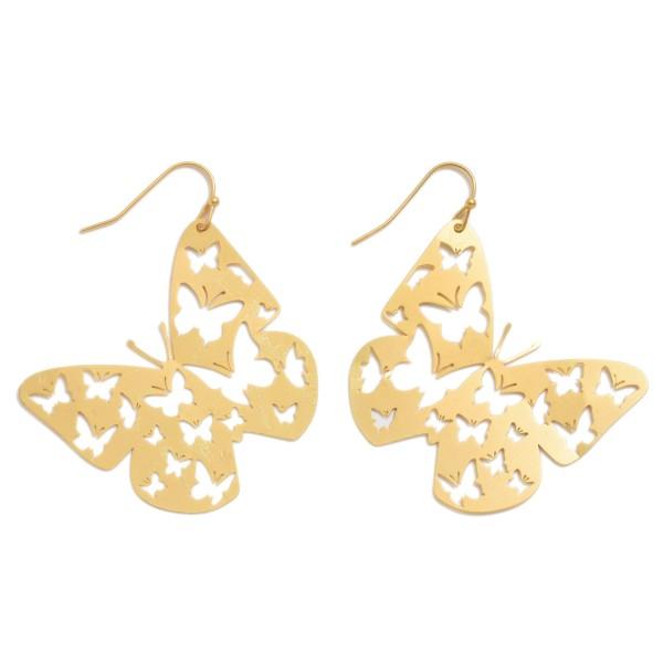 "Metal Butterfly Filigree Drop Earrings in a Worn Finish.  - Approximately 2"" in Length"