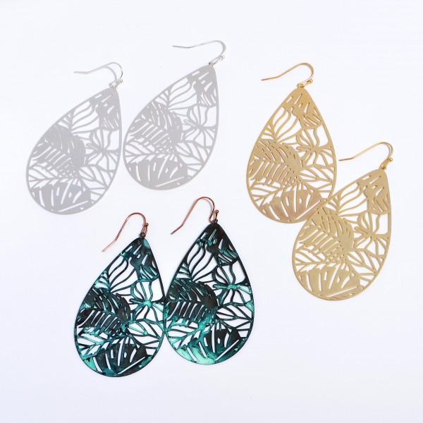 "Metal Filigree Palm Leaf Teardrop Earrings.  - Approximately 2.5"" in Length"