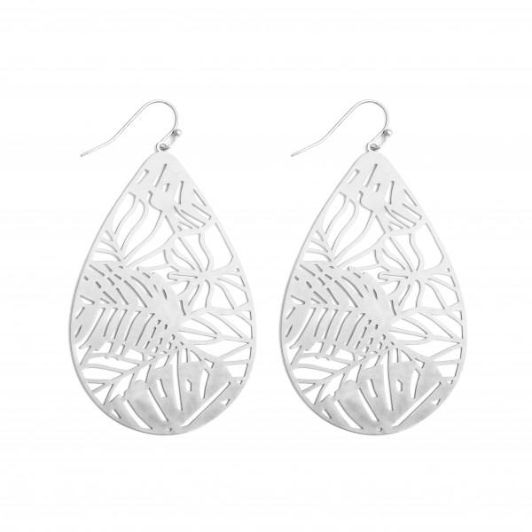 """Metal Filigree Palm Leaf Teardrop Earrings in a Worn Finish.  - Approximately 2.5"""" in Length"""