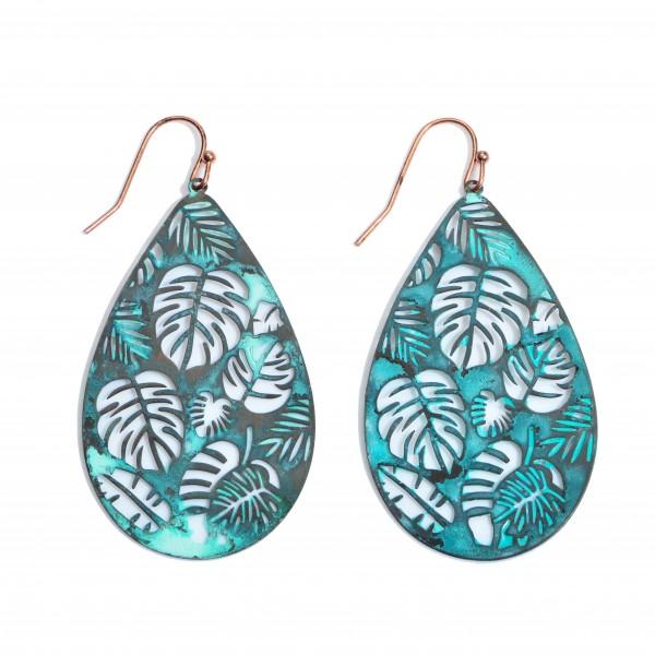 "Metal Filigree Palm Leaf Teardrop Earrings.  - Approximately 2"" in Length"