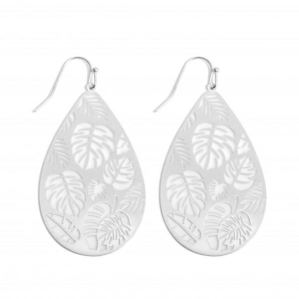 """Metal Filigree Palm Leaf Teardrop Earrings in a Worn Finish.  - Approximately 2"""" in Length"""