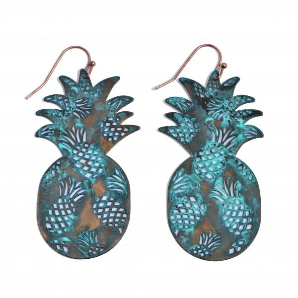 "Metal Filigree Pineapple Drop Earrings.  - Approximately 2.25"" in Length"