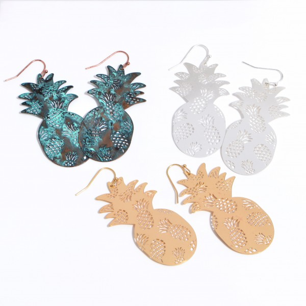 """Metal Filigree Pineapple Drop Earrings in a Worn Finish.  - Approximately 2.25"""" in Length"""